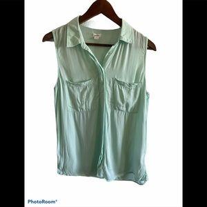 3/$30 Garage mint green button up sleeveless top